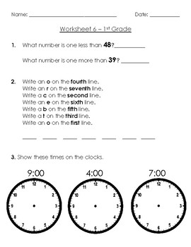 Warm-Up Worksheet 6 - 1st Grade
