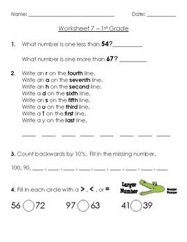 Warm-Up Worksheet 7 - 1st Grade