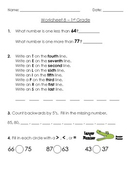 Warm-Up Worksheet 8 - 1st Grade