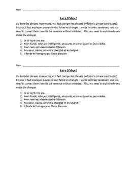 Warm-Up activity (basic grammar)