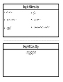 Warm-Up and Exit Slips for all of Unit 0 (ALG 2)