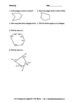 Warm-Up for Introduction to Polygons