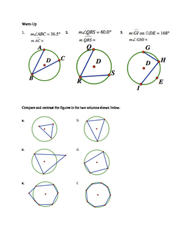 Warm Up for Teaching Inscribed Quadrilaterals