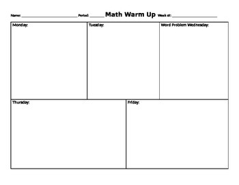 Warm Up graphic organizer