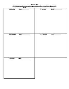 Warm Up/Start Up Sheet