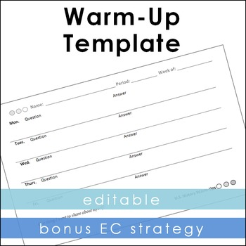 Warm-Up Template + Extra Credit Strategy