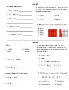 Warm Ups - Fifth Grade - First Quarter