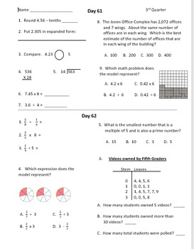 Warm Ups - Fifth Grade - Third Quarter