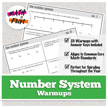 Warm Ups: Number System: 8th Grade Math (Common Core Standards)