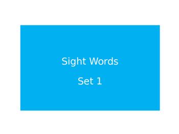 Warm Ups Sight words set 1