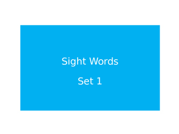 Warm Ups Sight words set 1
