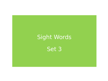Warm Ups Sight words set 3