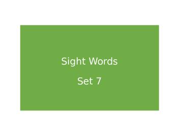 Warm Ups Sight words set 7