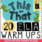 Bell Ringers:  20 Daily ELA Warm-Ups - Bell Ringer Journal Morning Work