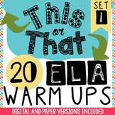 Bell Ringers:  20 Daily ELA Warm-Ups - Bell Ringer Journal