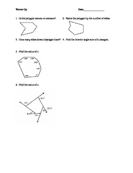 Warm-Ups for Polygons Unit