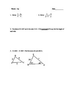 Warm-Ups for Similar Triangles Unit