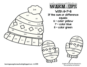 Warm-Ups with 6-7-8  Coloring Code Math Worksheet- Addition & Subtraction