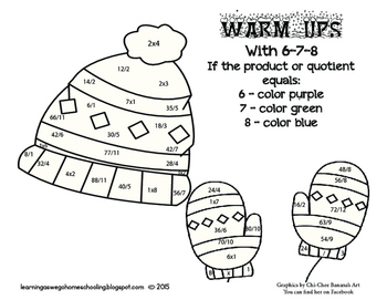 Warm-Ups with 6-7-8  Coloring Code Math Worksheet- Multipl