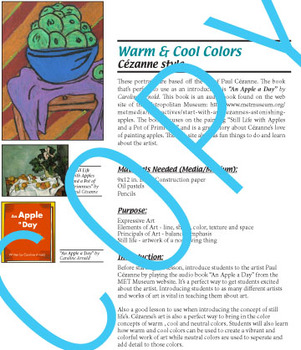 Warm and Cool Colors Art Lesson - Cézanne Style Still Life