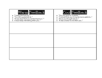 Warm and Cool Feedback Interactive Graphic Organizer