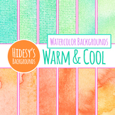 Warm and Cool Handpainted Watercolor Digital Paper / Backgrounds Clip Art
