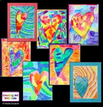 Valentine's Day Art Lesson - Warm and Cool Textured Hearts
