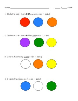 Warm and cool color quiz