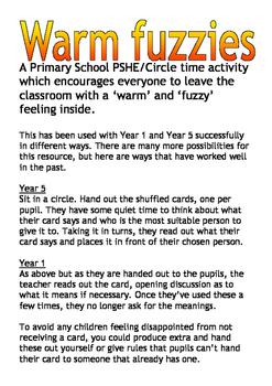 Warm fuzzies circle time activity