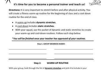 Warm up & Cool down exercise program