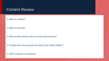 Warm-up Review Questions for Civics