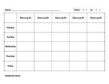 Warm-up Sheet with Exit Tickets