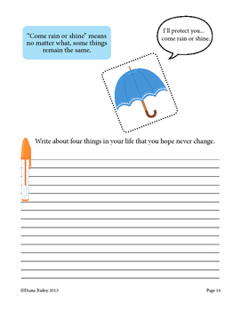 Warm-up Writing Prompts - 20 Spring Idiom Picture Prompts and Activity