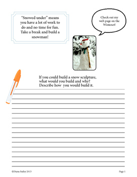 Winter Idioms Writing Prompts