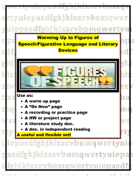 Figurative Language and Literary Devices Warm-up or Do Now (log/practice pages)
