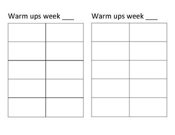 Warm up sheets