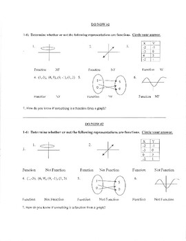 Warm ups/ Do now for Algebra 2--- First semester