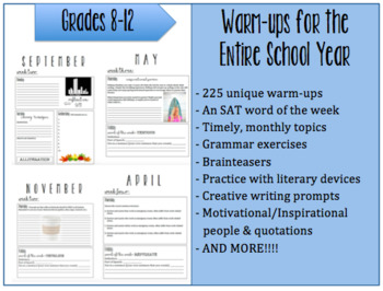 Warm-ups for the Entire School Year: 225 Prompts