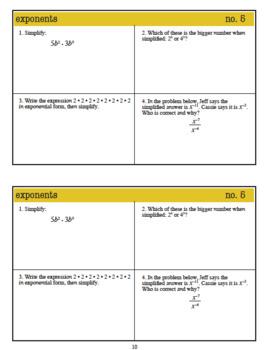 WarmUps: Exponents: 8th Grade Math (Common Core Standards)