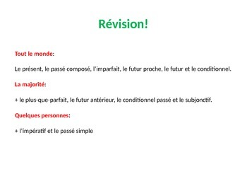 French Teaching Resources. Starter Activity to revise a hu