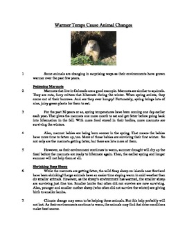 Warmer Temps Cause Animal Changes - Informational Text Test Prep