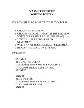 Warming Students up for Poetry Writing