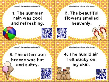 Warming-up to Predicate Adjectives SCOOT QR Codes Included