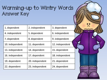 Warming-up to Wintry Words SCOOT Independent and Dependent Clauses