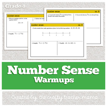 Warmups: Number Sense: 7th and 8th Grade Math (Common Core Standards)