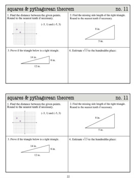 Warmups: Squares and Pythagorean Theorem: 8th Grade Math (Common Core Standards)