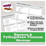 Warmups: Squares and Pythagorean Theorem: 8th Grade Math (