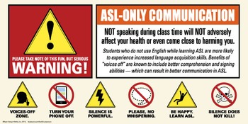 Warning! ASL only. Voices off poster.