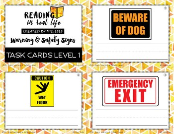 Warning & Safety Sign Task Cards {Reading in Real Life}