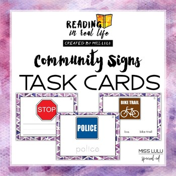 Community Sign Task Cards {Reading in Real Life}